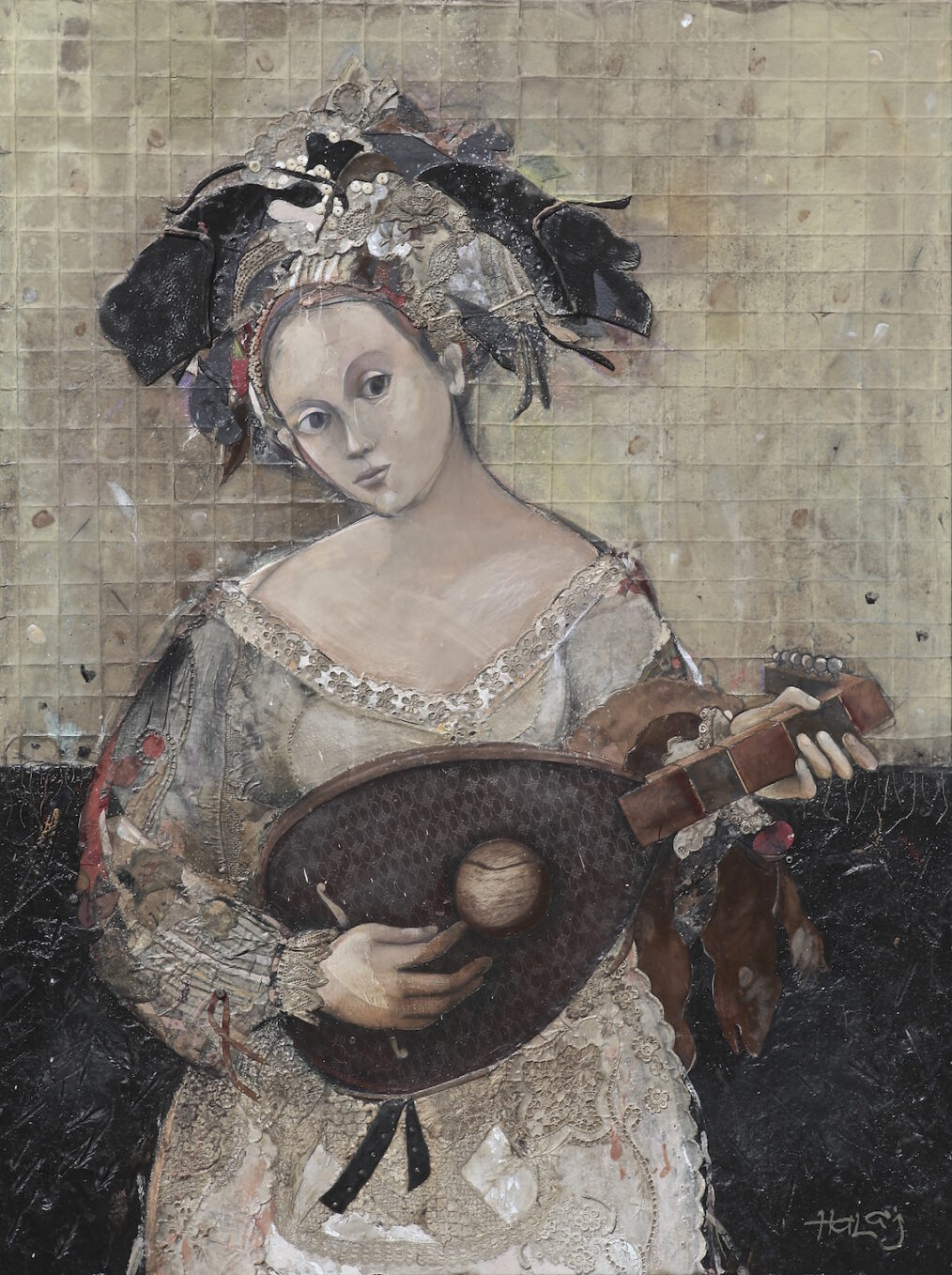 """""""""""Girl with a Mandolin """" 2014, Oil, emulsion, textile, tar, mixed media on linen, 48x36 inches (122x92 cm)"""
