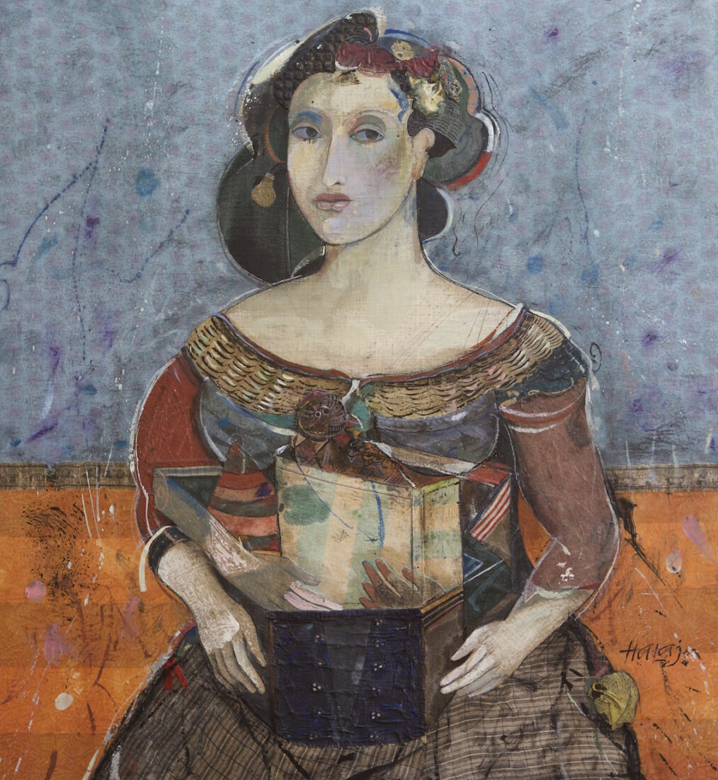 """Bird from Aratta"" 2015, Oil, emulsion, textile, tar, mixed media on panel, 30x28 in. (76.2x71.2 cm)"