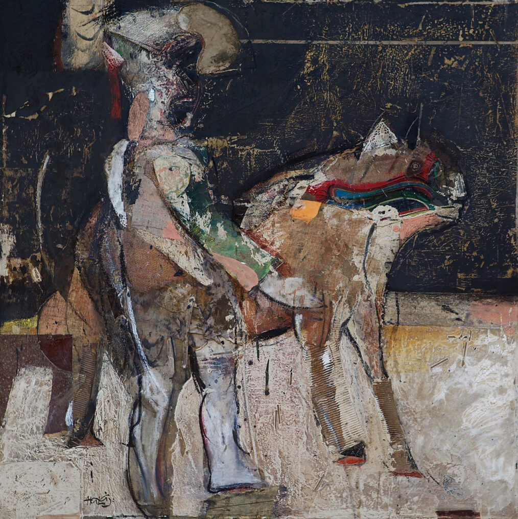 """Boy With The Dog #2"" 2013, Oil Mixed Media On Linen, 36x36 in. (91.44x91.44)"