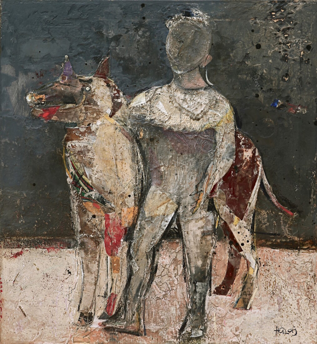 """Boy With The Dog #3"" 2013, Oil Mixed Media On Linen, 41x38 in. (104.14x96.52cm.)"