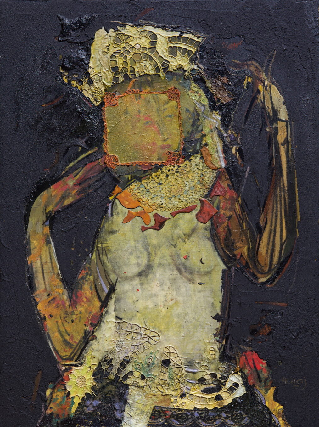 """""""Girl From Middle East"""" 2013 Oil, emulsion, textile, tar, mixed media on linen, 40x30 inches. (76.2x101.6 cm) Private Collection Los Angeles, CA"""