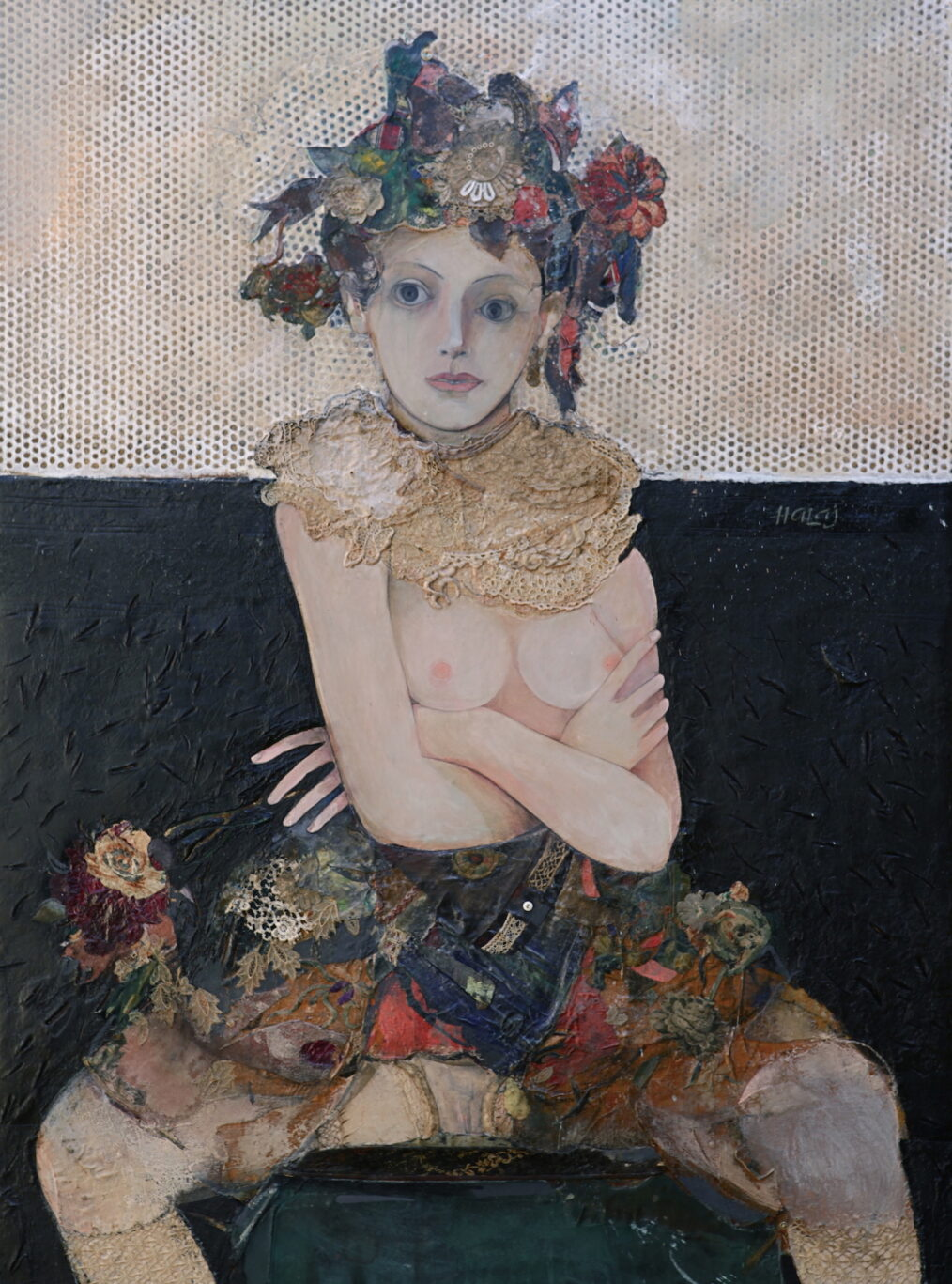 """""""Girl With Orchid """" 2013, Oil, emulsion, textile, paper, tar, mixed media on linen, 48x36 inches 122x92 cm."""