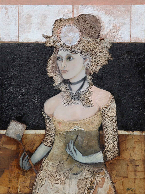 """Ieva"" 2013, Oil, emulsion, textile, tar, mixed media on linen, 48x36 inches (122x92 cm)"