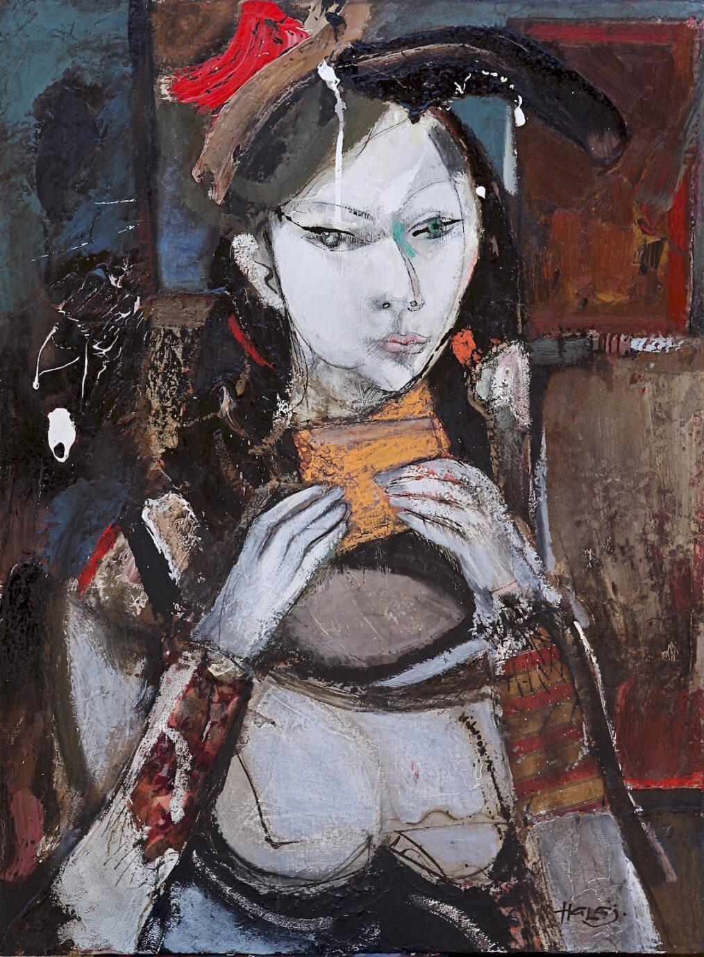 """""""Lena"""" 2014 Oil, emulsion, tar, mixed media on linen, 40x30 in. (101.6x76.2 cm) Private collection, West Hollywood, CA"""