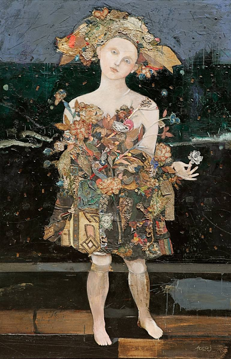 """Puppet Girl"" 2013, Oil, Mixed Media, on linen, 58x38 In.(148x97) cm."