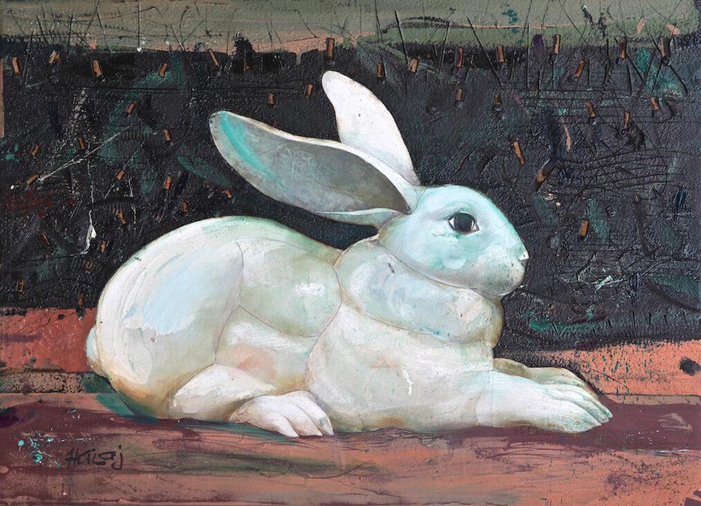 """Rabbit"" 2015 Oil, emulsion, textile, tar, mixed media on panel, 36x26 in. (91.44x66.04 cm)"
