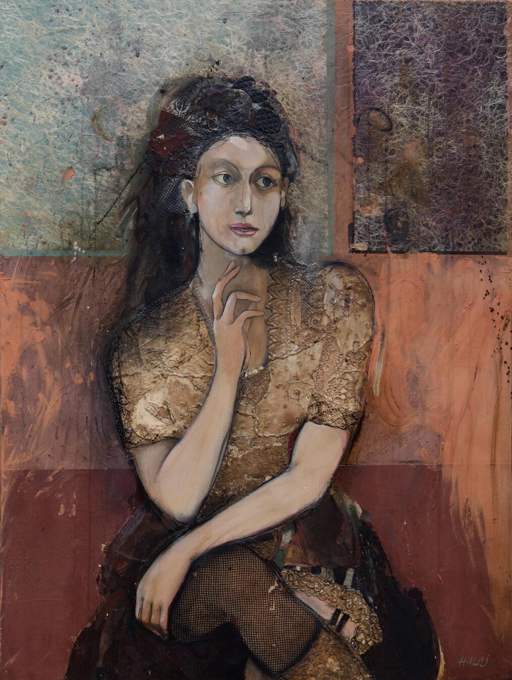 """""""She"""" 2014, Oil, emulsion, paper, mixed media on linen, 48x36 in. (121.9x91.4 cm)."""