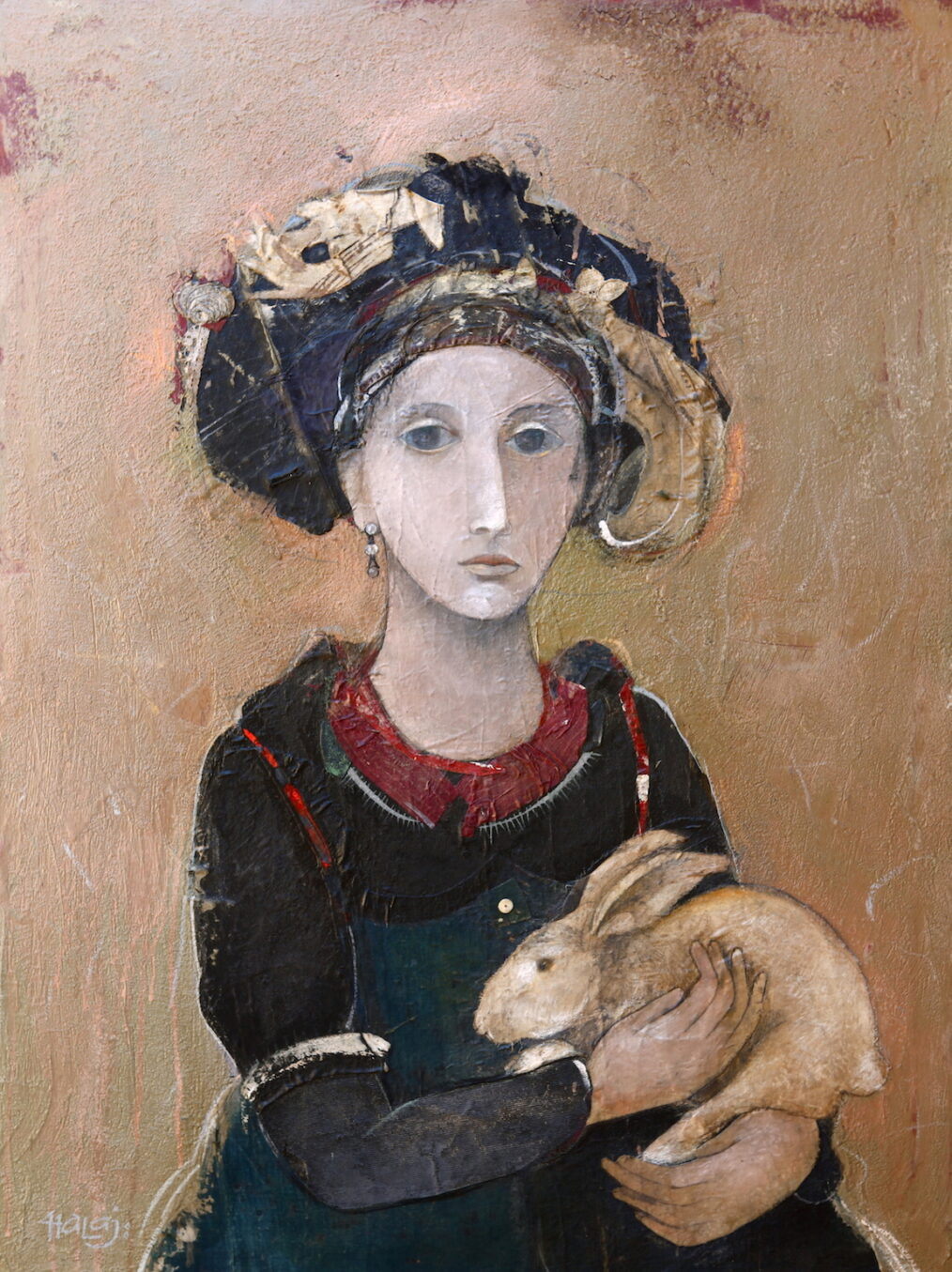 Girl With a Rabbit, 2014 Oil, emulsion, mixed media on linen, 40x30 in. (76.2x101.6 cm) Private Collection Long Island NY .