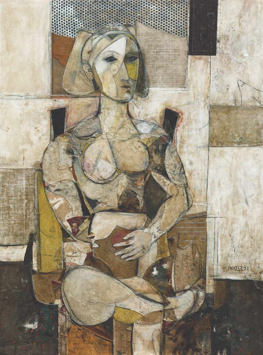 Seated Woman, 2014 Oil, emulsion, paper, mixed media on wood, 48x36 in. (121.9x91.4 cm).